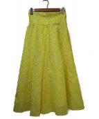 FRAY ID(フレイアイディー)の古着「カットジャガードハイウエストスカート」|イエロー
