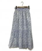 KUMIKYOKU(クミキョク)の古着「コットンローンプリントスカート」|ブルー