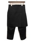 BLACK COMME des GARCONS(ブラックコムデギャルソン)の古着「サイドプリーツスカートラップパンツ」|ブラック