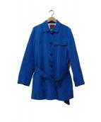 AMACA(アマカ)の古着「ミニグログランカフロップトレンチコート」|ブルー