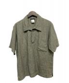 agnes b(アニエスベ-)の古着「プルオーバーリネンシャツ」|オリーブ