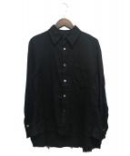 Ys(ワイズ)の古着「切りっぱなしガーゼコットンシャツ」|ブラック