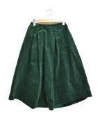 Jocomomola(ホコモモラ)の古着「ストライプコーデュロイ タックフレアスカート」|グリーン