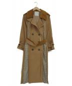 QUINOA BOUTIQUE(キヌアブティック)の古着「コーデュロイ切替ラグラントレンチコート」|ブラウン