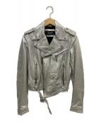 DSQUARED2(ディースクエアード)の古着「レザーライダースジャケット」|シルバー