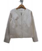M-premier(エムプルミエ)の古着「ノーカラージップアップジャケット」|ホワイト
