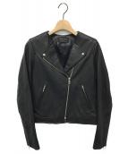 ()の古着「レザーノーカラーライダースジャケット」|ブラック