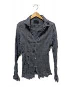 ()の古着「チェックリンクル加工シャツ」 グレー