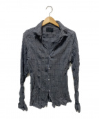 Junhashimoto(ジュンハシモト)の古着「チェックリンクル加工シャツ」 グレー