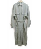 Traditional Weatherwear(トラディショナル ウェザーウェア)の古着「ウエストベルトロングシャツワンピース」|カーキ