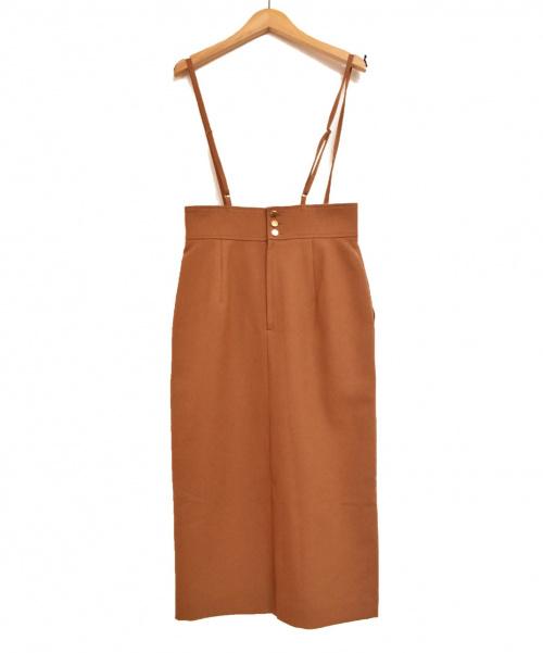 allureville(アルアバイル)allureville (アルアバイル) ポリエステルツイルサロペットスカート ブラウン サイズ:1 未使用品の古着・服飾アイテム