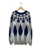 sacai(サカイ)の古着「エルボーパッチセーター」|グレー×ネイビー