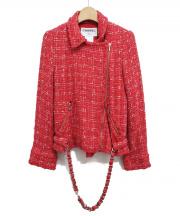 CHANEL(シャネル)の古着「ツイードライダースジャケット」|ピンク