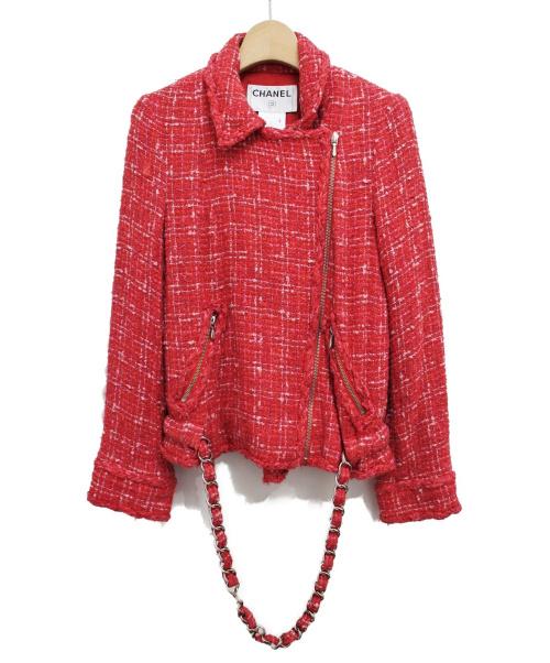 CHANEL(シャネル)CHANEL (シャネル) ツイードライダースジャケット ピンク サイズ:38の古着・服飾アイテム