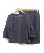 LEILIAN(レリアン)の古着「プルオーバーブラウス×タイトスカートセットアップ」|ネイビー