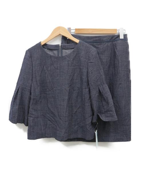 Leilian(レリアン)LEILIAN (レリアン) プルオーバーブラウス×タイトスカートセットアップ ネイビー サイズ:11号 未使用品の古着・服飾アイテム