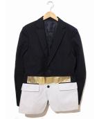 yoshio kubo(ヨシオクボ)の古着「切替テーラードジャケット」|ブラック×グレー