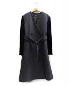 DIESEL(ディーゼル)の古着「袖切替ベルテッドコート」|グレー×ブラック