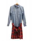 PHENOMENON(フェノメノン)の古着「ドッキングダブルシャツ」|インディゴ×レッド