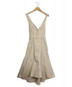 JILL BY JILLSTUART(ジルバイジルスチュアート)の古着「ストラップデニムジャンパースカート」|ベージュ
