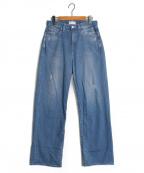 woadblue(ウォードブルー)の古着「ACASIA ビックストレート ダメージデニムパンツ」|ブルー