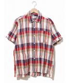 Engineered Garments(エンジニアードガーメンツ)の古着「キャンプシャツ/半袖チェックシャツ」|レッド