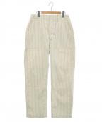 Engineered Garments WORKADAY(エンジニアドガーメンツ ワーカデイ)の古着「ストライプペインターワイドパンツ」|ベージュ