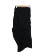 ENFOLD(エンフォルド)の古着「ACダブルクロスドレープスカート」|ブラック