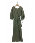 LAppartement(アパルトモン)の古着「Linen Madam Dress」 カーキ