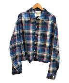 ()の古着「C/Rチェックブルゾン / ジャケット」 ブルー