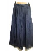 SACRA(サクラ)の古着「フレンチクレープフレアロングスカート」 ネイビー