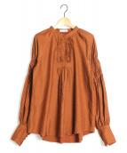 CASA FLINE(カーサフライン)の古着「ボリューム袖ブラウス」|ブラウン