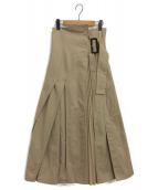CASA FLINE(カーサフライン)の古着「プリーツコットンスカート」|ベージュ