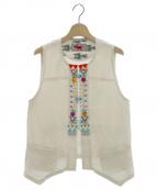 OLLEBOREBLA(アルベロベロ)の古着「ぶたさんビーズ装飾バックギャザーベスト」|アイボリー
