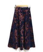 JUSGLITTY(ジャスグリッティー)の古着「フラワージャガードスカート」|ワインレッド