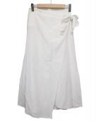 ebure(エブール)の古着「リネン混ラップスカート」|ホワイト