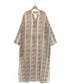 SOULEIADO(ソレイアード)の古着「コットンキュプラプリントドローストリングワンピース」