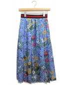 GUCCI(グッチ)の古着「ニューフローラプリントスカート」|ブルー