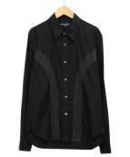 ()の古着「ラインシャツ」|ブラック