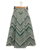 SNIDEL(スナイデル)の古着「ストライプジャガードスカート」 ライトグレー