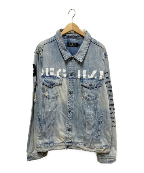 EIVIL()EIVIL (アンヴィル) クラッシュ加工バックフォトデニムジャケット サイズ:XLの古着・服飾アイテム