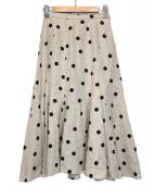 BEAUTY&YOUTH UNITED ARROWS(ビューティーアンドユース ユナイテッドアローズ)の古着「リネンドットフレアロングスカート」|ベージュ