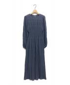 FRAY I.D(フレイアイディー)の古着「シャーリングプリーツワンピース」|ブルー