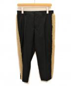 Maison Margiela(メゾンマルジェラ)の古着「ムートンボア サイドラインクロップドパンツ」|ブラック
