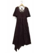 ()の古着「パネルレースアシメドレス」|ワインレッド