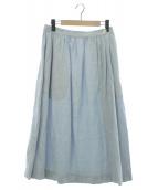 MARGARET HOWELL(マーガレットハウエル)の古着「SHIRTING LINENスカート」|ライトブルー