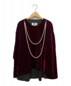 MM6(エムエムシックス)の古着「パール付ベロアプルオーバー」|ボルドー