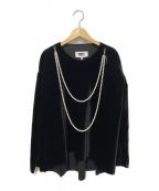MM6(エムエムシックス)の古着「パール付ベロアプルオーバー」|ブラック