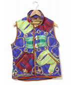 RALPH LAUREN(ラルフローレン)の古着「スカーフ総柄ダウンベスト」|ブルー