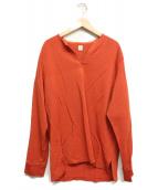 KAPTAIN SUNSHINE(キャプテンサンシャイン)の古着「ノーカラーシャツ」|オレンジ